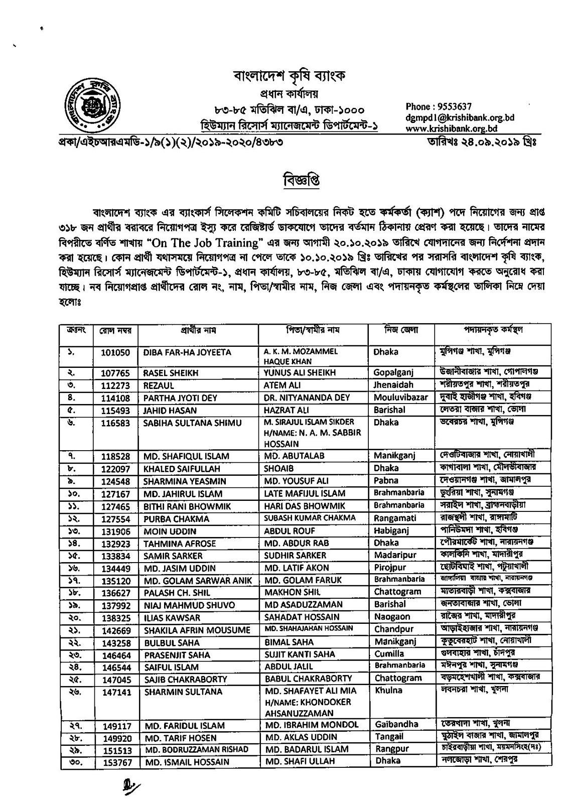 Bangladesh Agricultural Bank Job Exam Result