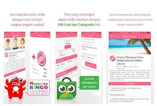 aplikasi survey online Licorice berhadiah gift card Tokopedia dan Blibli