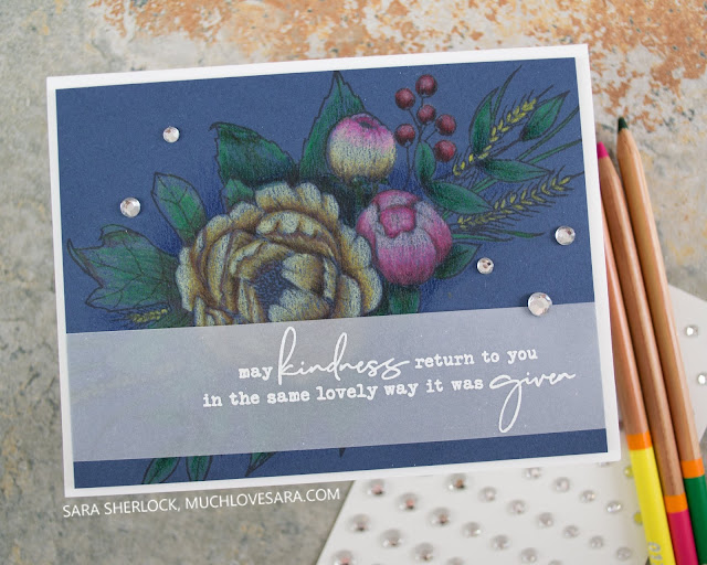 Simple Thank You card, made with the Concord & 9th Grateful for You stamp set.   Colored image was done with FSJ Color Burst pencils.