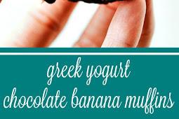 Greek Yogurt Chocolate Banana Muffins
