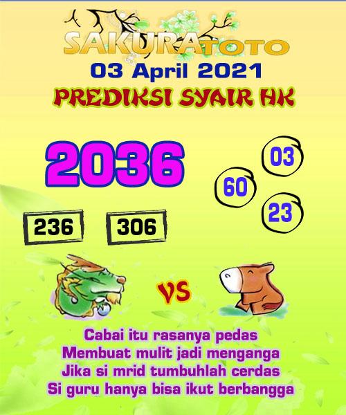 Syair HK Sabtu 03 April 2021 -