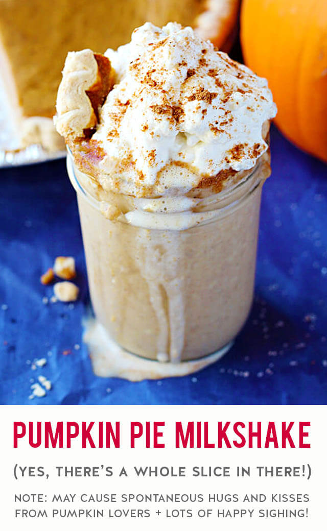 An over-the-top delicious milkshake recipe using a whole slice of pumpkin pie, vanilla ice cream & lotsa whipped cream. Fill up your plate with Thanksgiving leftovers then blend up one of these simple & easy shakes in minutes to serve as a drool-worthy dessert. TIP: Bake an extra pumpkin pie or two so you can enjoy this all fall & winter long.