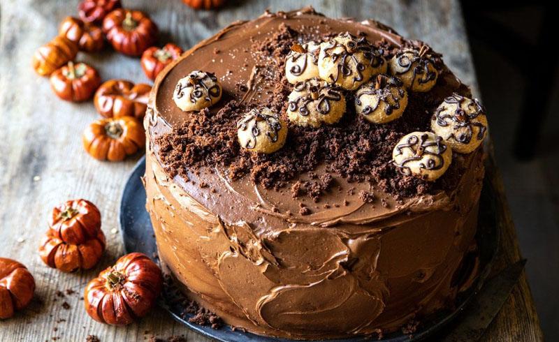 Pumpkin Patch Chocolate Peanut Butter Cake