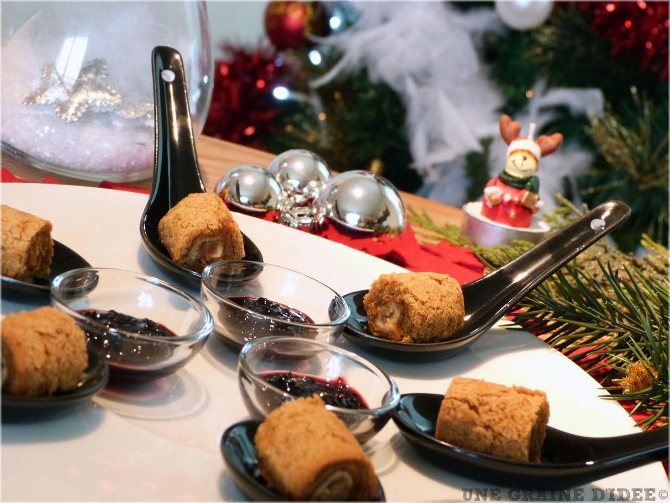 amuse bouche de no l maki de pain d 39 pices au foie gras. Black Bedroom Furniture Sets. Home Design Ideas