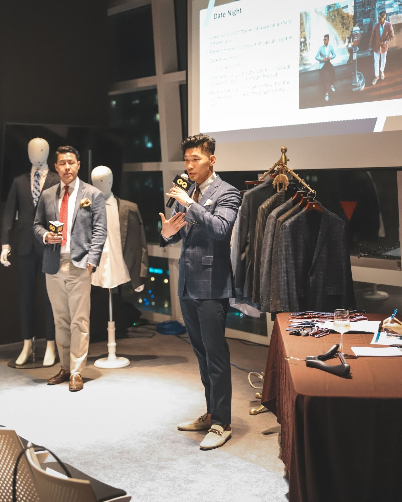 Leo Chan teaching GQ Taiwan Suit Walk Class with Lex Mr. Gumbatron