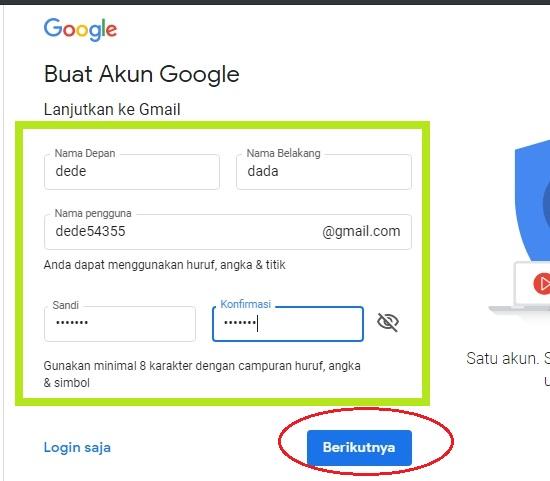 Isikan Dengan Kata Sandi Untuk Buat Gmail 2