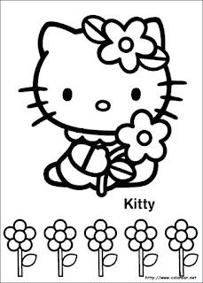 hello kitty primavera para colorear