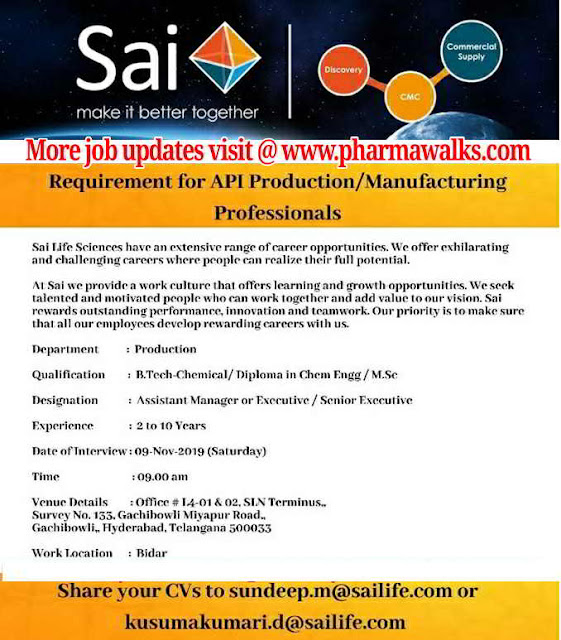 Sai Life Sciences - Walk-in interview for Production / Manufacturing Professionals on 9th November, 2019
