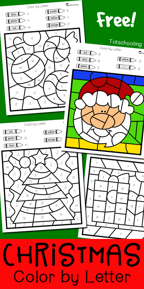 free christmas coloring worksheets to practice alphabet letters fine motor skills and color words