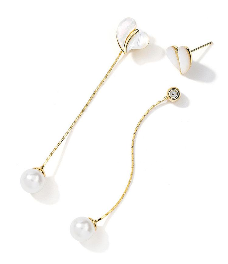 氣質珍情人造彩貝擬珍珠兩造型耳環
