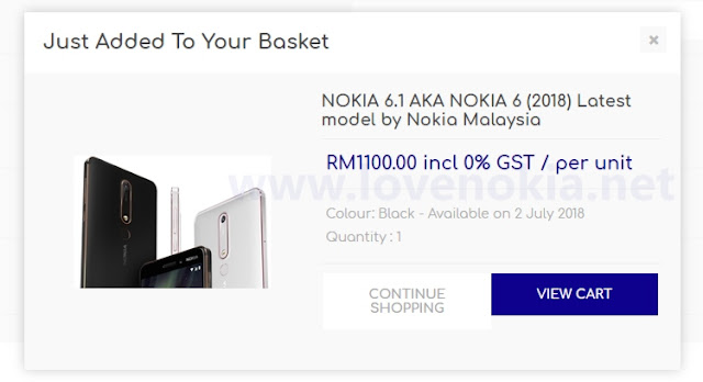 Nokia 6.1 Price and Availability
