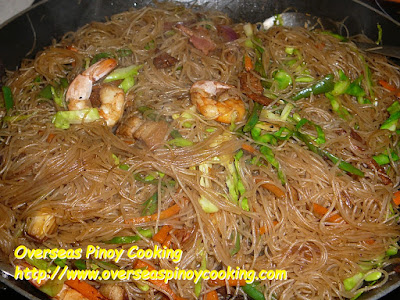 Pansit Bihon Gisado Topped with Bacon - Cooking Procedure