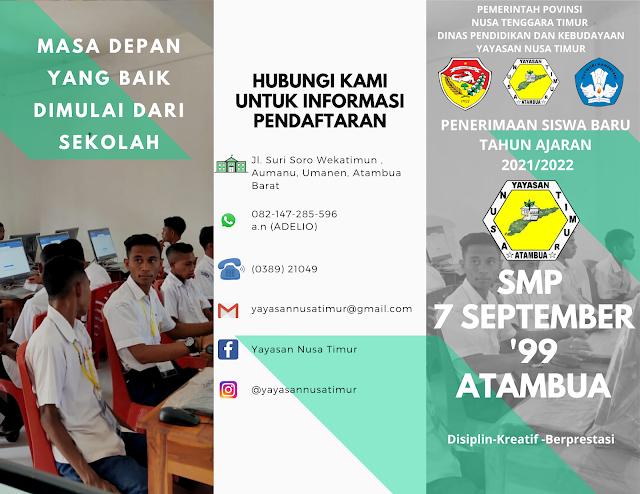 SMP 7 September '99 Atambua Membuka Pendaftaran Siswa Siswi Baru Tahun Ajaran 2021/2022