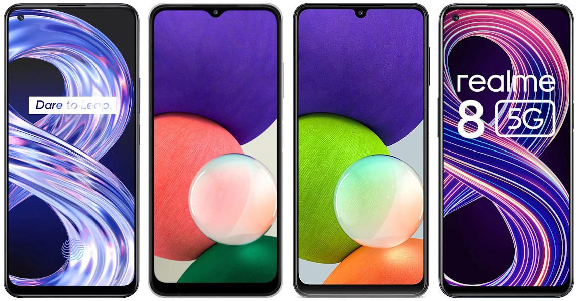 Realme 8 4G vs Samsung Galaxy A22 4G vs Samsung Galaxy A22 5G vs Realme 8 5G