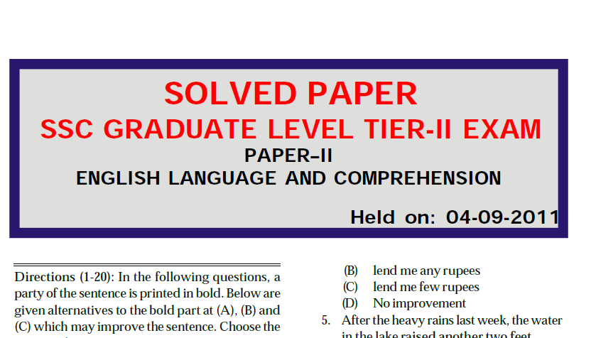SSC CGL TIER –II 2011 ENGLISH SOLVED PAPER PDF DOWNLOAD