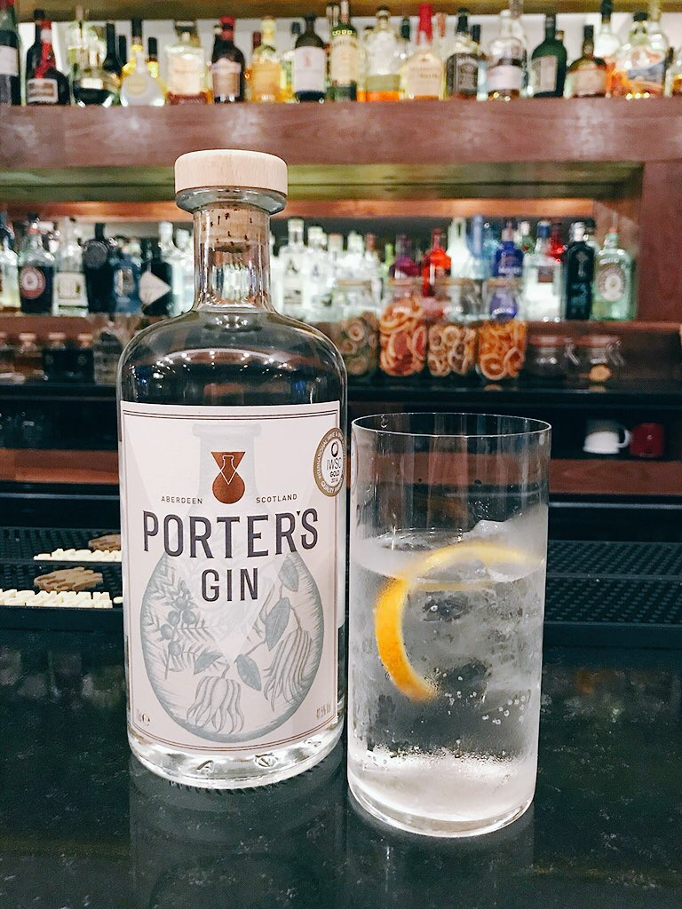 Porters gin and tonic in Orchid Aberdeen