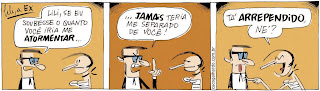Lili a ex é uma criação do cartunista Caco Galhardo, publicada na Folha de São Paulo desde 2009. A agitada e expansiva Lili engata uma loucura atrás da outra para perturbar Reginaldo, o ex-marido, ainda que deixe claro não querer reatar. Ela só tem interesse em atrapalhar a vida do ex-marido, mesmo. Ele, aliás, também não quer nada com Lili e, apesar de reclamar uma infinidade de vezes que a mulher invadiu a sua privacidade ao se mudar para o apartamento ao lado, não encara uma briga séria para tirá-la do lugar. Metódico e com mania de limpeza, o acovardado Reginaldo parece gostar de ter por perto alguém que vire seu mundo de cabeça para baixo e que instale o caos para que ele possa arrumar tudo depois.  Dois personagens estão frente a frente: Do lado esquerdo Reginaldo, um homem com rosto quadrado, cabelos escuros lisos, óculos sobre os olhos miúdos, narigão e boca grande; ele usa terno, gravata e camisa branca. Do lado direito, Lili: uma mulher de rosto redondo, cabelos escuros lisos com topete para frente, olhos miúdos, nariz comprido e boca grande. Ela tem seios pequenos empinados sob o decote da roupa clara tomara que caia; no pescoço, uma fitinha preta.  Q1- Reginaldo fala: Lili, se eu soubesse o quanto você iria me atormentar... Lili olha para ele com ar de espanto.  Q2- Com a boca arreganhada, testa franzida e dedo indicador em riste ele continua: ...jamais teria me separado de você! Lili o observa com olhos franzidos.  Q3- Lili cutuca o ombro de Reginaldo com o dedo indicador, pisca o olho direito e retruca aos gritos: Tá arrependido, né? Reginaldo fica vesgo e coloca a língua para fora. Fim da descrição.
