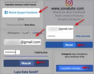 Cara Masuk Instagram IG Dengan Akun Facebook Fb