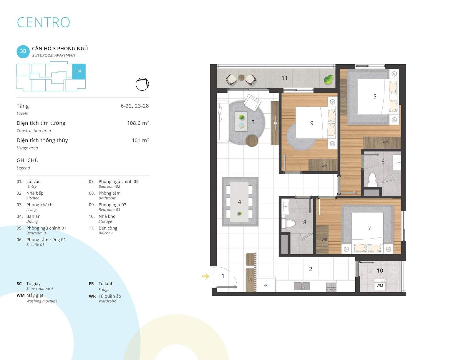 Mặt bằng căn hộ 3 phòng ngủ 101 m2 thông thủy tòa CENTRO