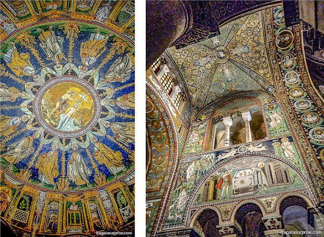 Mosaicos bizantinos de Ravena no Batistério Neoniano e na Basílica de San Vitale