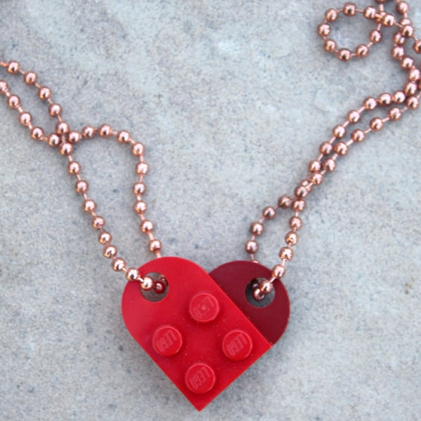 Lego best friends forever necklace, perfect for your bff. Handmade gift using Lego Pieces.