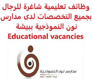 وظائف السعودية وظائف تعليمية شاغرة للرجال بجميع التخصصات لدى مدارس نون النموذجية ببيشة Educational vacancies وظائف تعليمية شاغرة للرجال بجميع التخصصات لدى مدارس نون النموذجية ببيشة Educational vacancies  أعلنت مدارس نون النموذجية ببيشة عن بدء التسجيل لوظائف تعليمية شاغرة لديها للرجال , من مختلف التخصصات , بمسمى وظيفي : معلم المؤهل العلمي:  بكالوريوس في التخصص المطلوب للتقدم إلى الوظيفة اضغط على الرابط هنا , وقم بتعبئة الطلب يبقى التسجيل مفتوحاً لحين الاكتفاء  أنشئ سيرتك الذاتية    أعلن عن وظيفة جديدة من هنا   لمشاهدة المزيد من الوظائف قم بالعودة إلى الصفحة الرئيسية   قم أيضاً بالاطّلاع على المزيد من الوظائف   مهندسين وتقنيين   محاسبة وإدارة أعمال وتسويق   التعليم والبرامج التعليمية   كافة التخصصات الطبية   محامون وقضاة ومستشارون قانونيون   مبرمجو كمبيوتر وجرافيك ورسامون  موظفين وإداريين   فنيي حرف وعمال