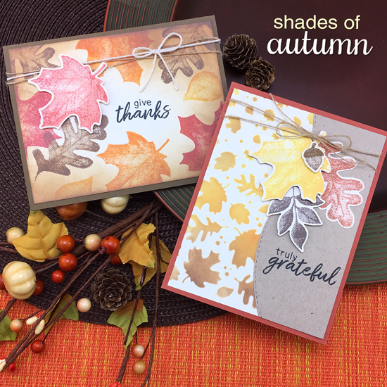 Fall cards by Jennifer Jackson | Shades of Autumn Stamp Set and Falling Leaves Stencil by Newton's Nook Designs #newtonsnook #handmade