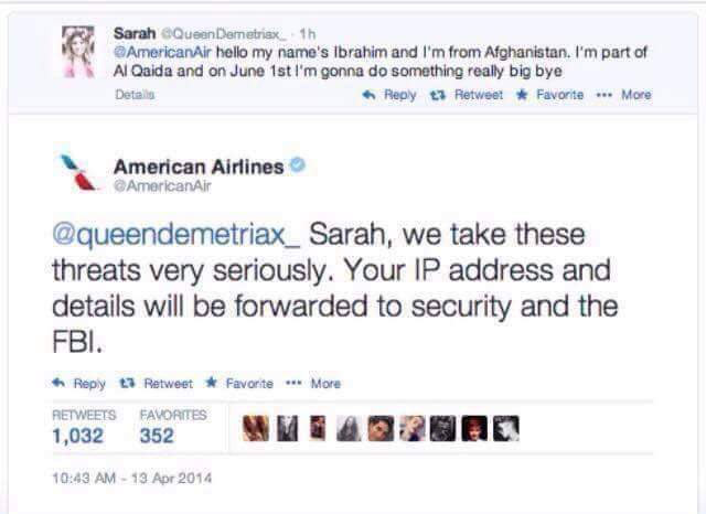 Between Sarah and American Airlines...