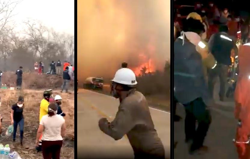 El sábado fue otra jornada ardua de rescate y tareas para sofocar las llamas en el oriente boliviano / RRSS