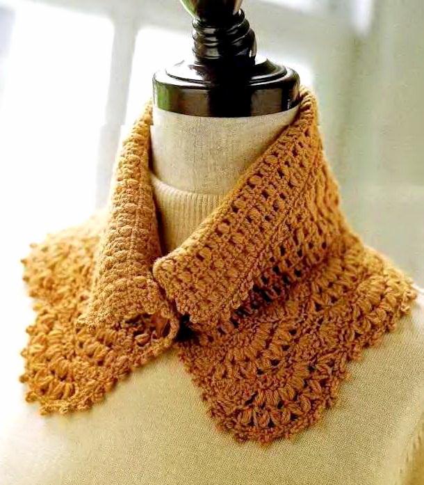 Crochet neck warmer, Crochet cowl - Accessory collar - with crochet pattern