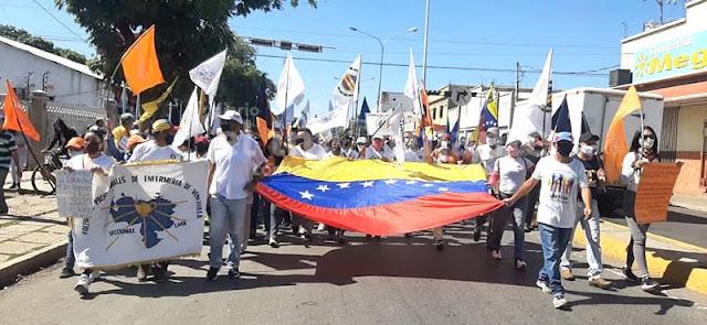 OPOSICIÓN CAROREÑA MARCHÓ EN RESPALDO AL ACUERDO DE SALVACIÓN NACIONAL