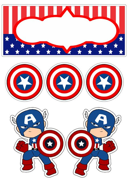 Captain America Baby: Free Printable Cake and Cupcake Toppers.