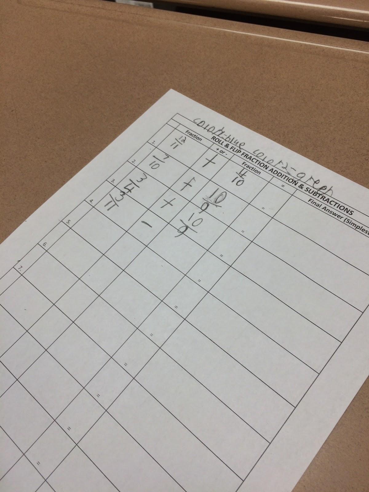 Mrs White S 6th Grade Math Blog Roll Flip Shake Fractions Add Subtract Fractions