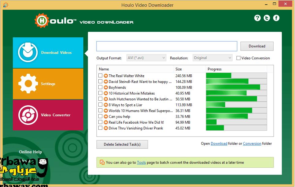 افضل برنامج تنزيل فيديوهات من النت Houlo Video Downloader