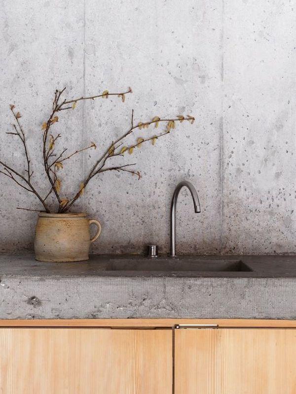 kuchnia, industrialna, beton, surowa, drewno