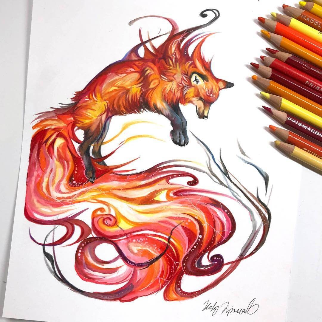 11-Fire-Fox-K-Lipscomb-Fantasy-and-Real-Life-Animal-Drawings-www-designstack-co