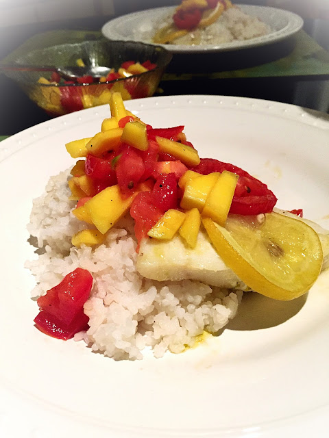 Chipotle Roasted Cod with Coconut Rice and Mango Salsa