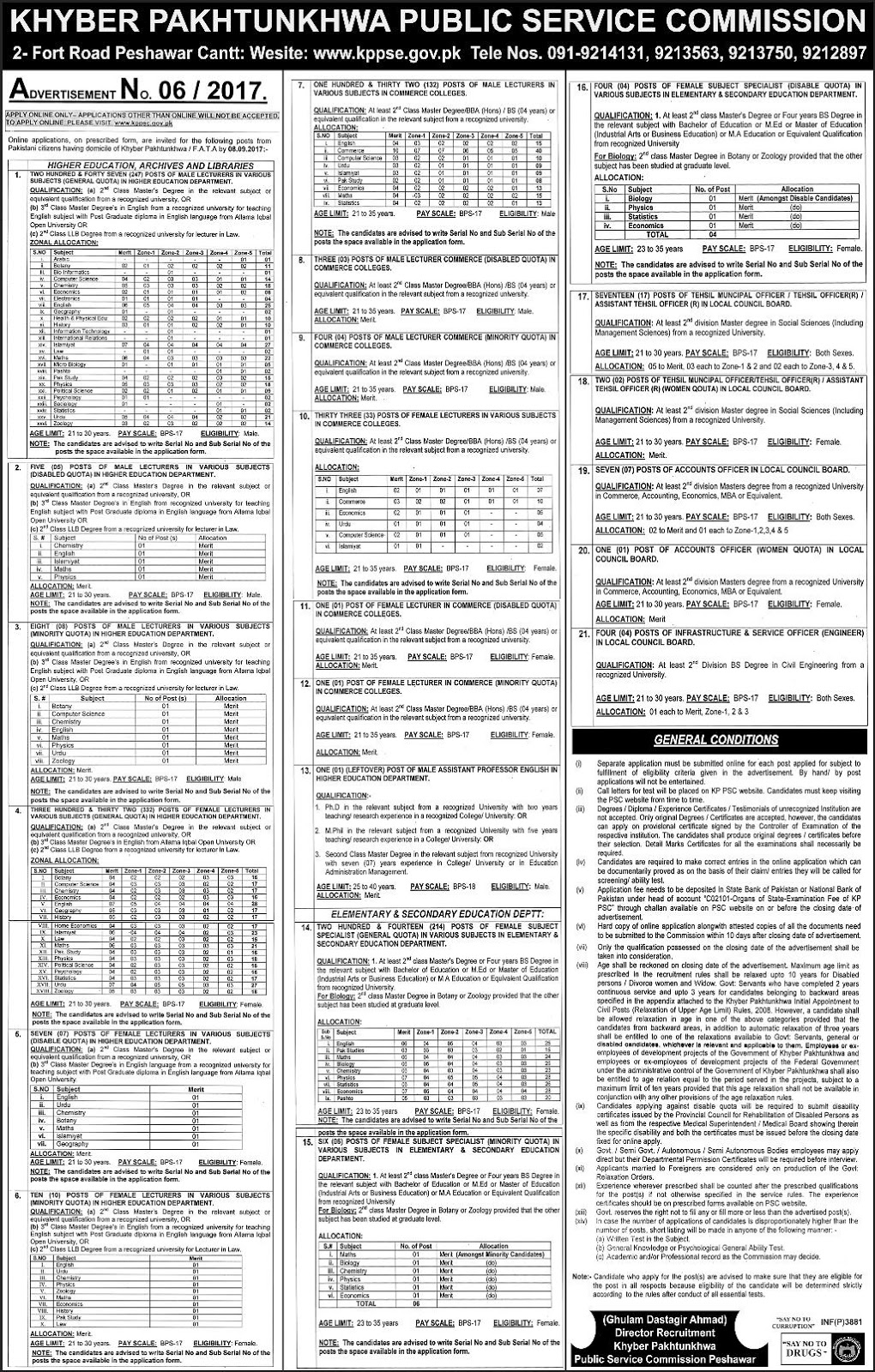 Jobs In Khyber Pakhtunkhwa Public Service Commission KPPSC Aug 2017