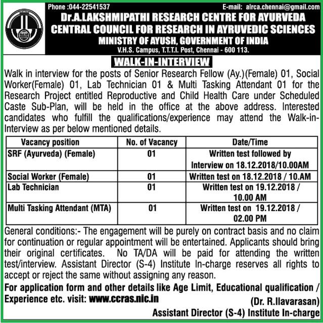 CCRAS Chennai Recruitment Notification 2018