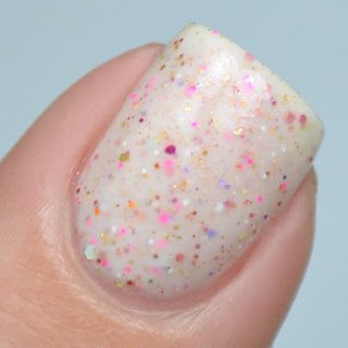 white glitter crelly nail polish