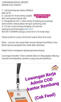 LOWONGAN KERJA URGENT ADMIN COD SAP Express Rembang
