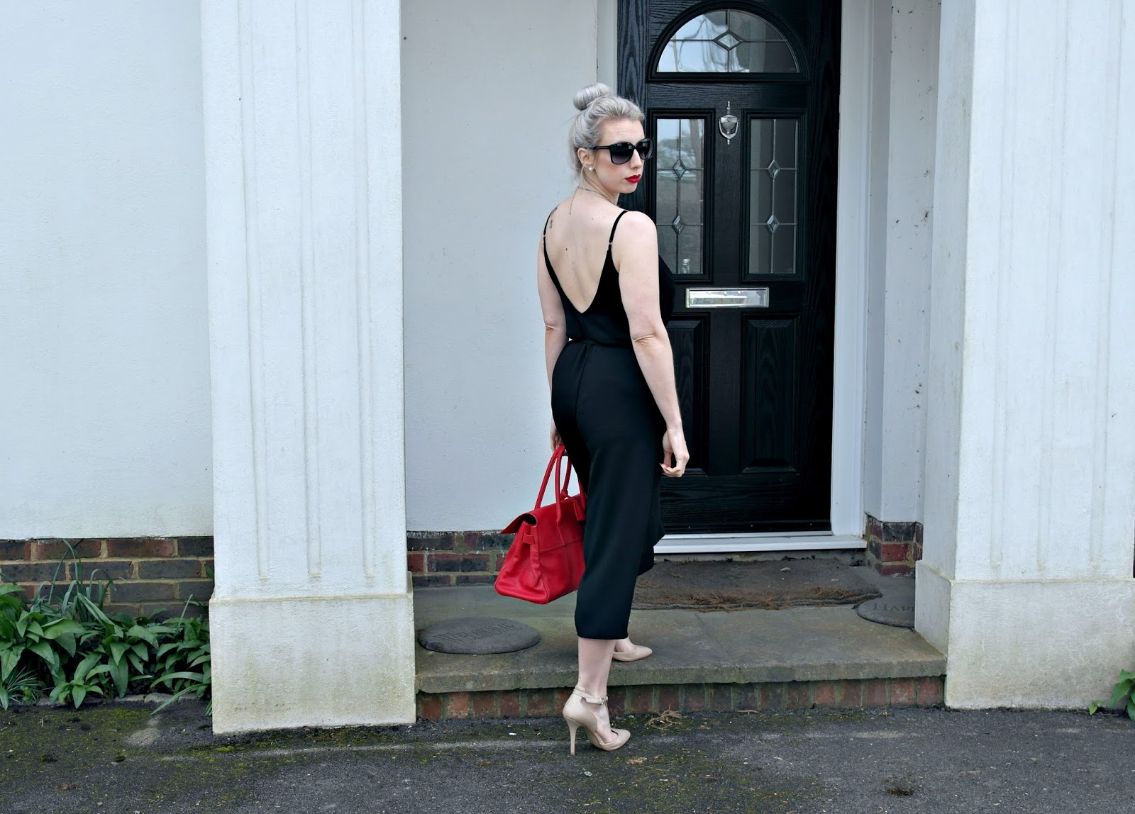 black jumpsuit, river island, fashion blogger