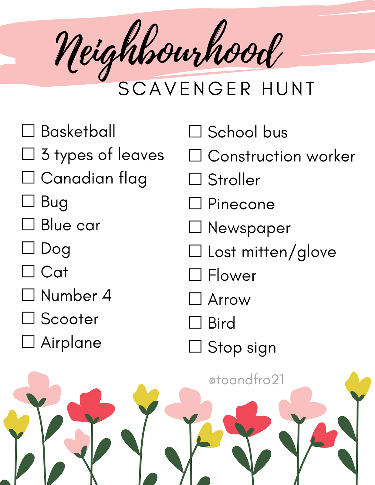 Kid-Friendly Social Distancing Activity: Neighbourhood Scavenger Hunt