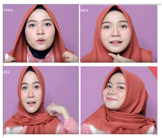 cara memakai jilbab segi empat untuk wajah bulat