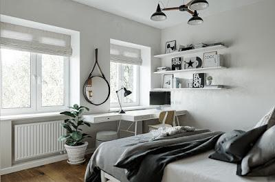 Desain Kamar Tidur Scandinavian Minimalis.