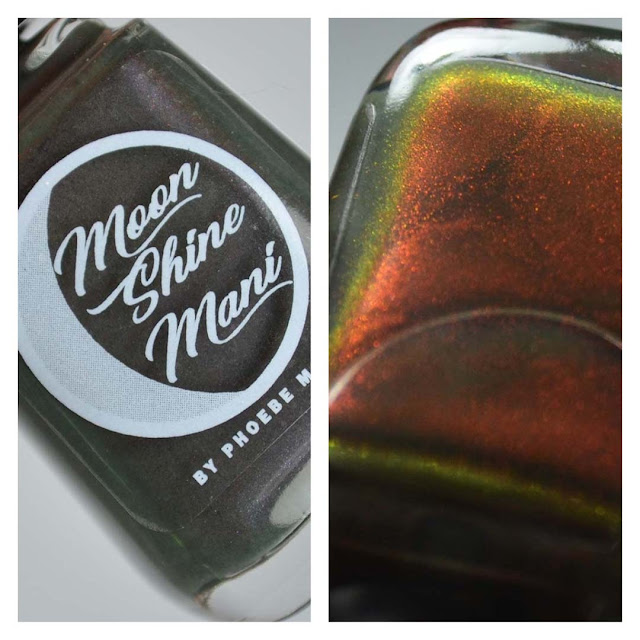 olive creme with red multichrome shimmer in a bottle