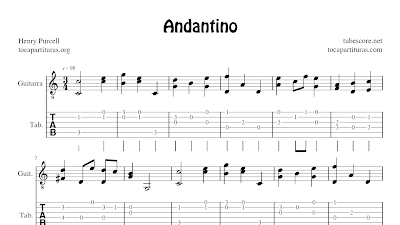 Andantino (tablature fingering tabs sheet music for guitar)