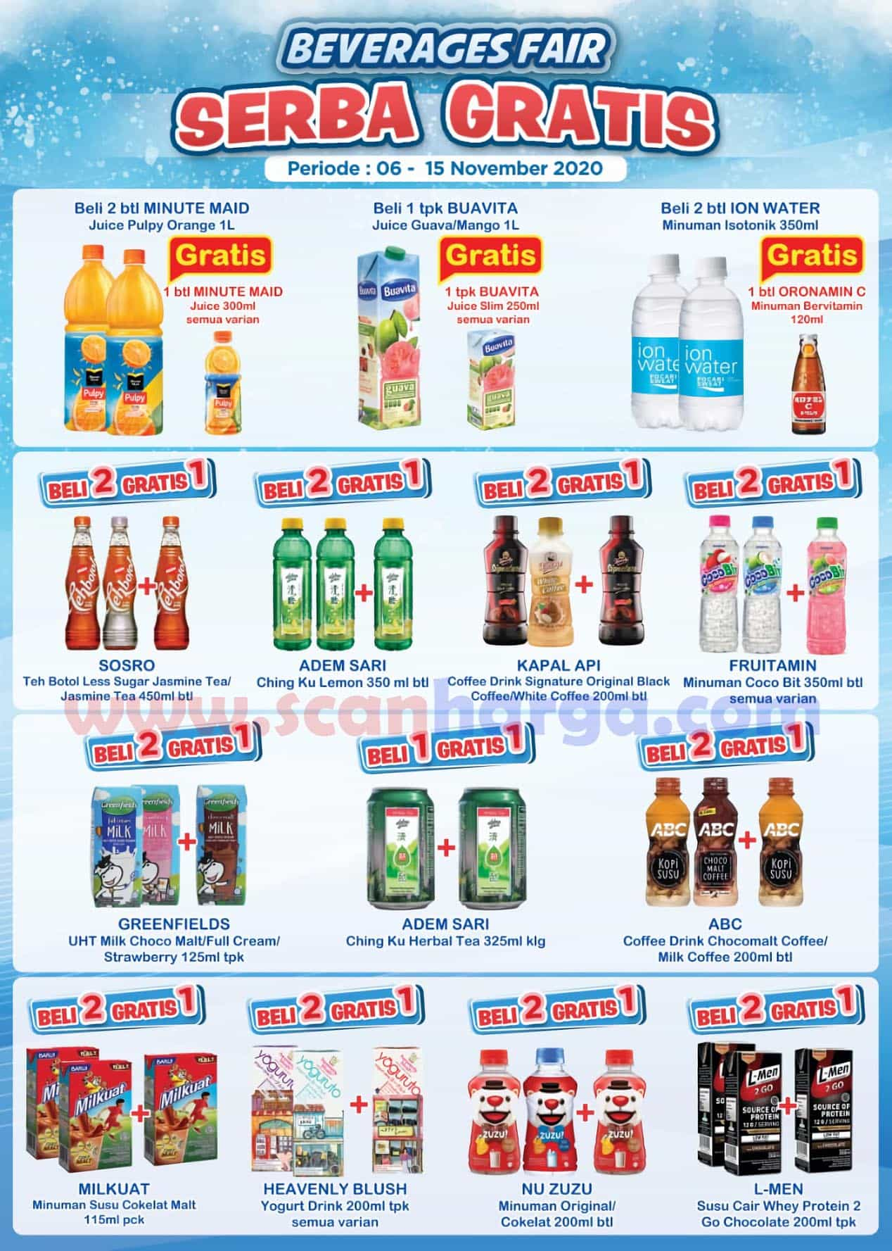 Indomaret Beverages Fair Promo Serba Gratis 06 - 15 November 2020