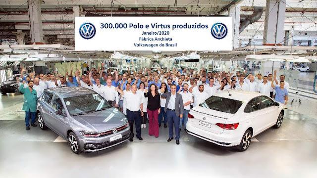 VW comemora 300 mil Polo e Virtus produzidos no Brasil