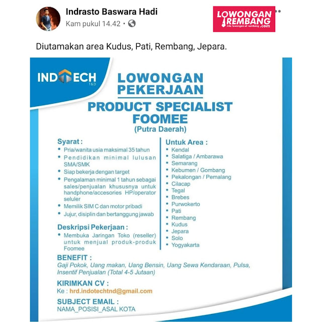 Lowongan Kerja Product Specialist Foomee Indotech T&D Rembang dan Sekitarnya